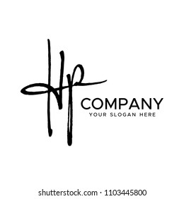 H P Initial Letter handwriting logo vector. Hand lettering for designs