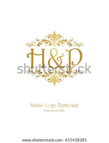 H P Initial Wedding Logo Template Vector