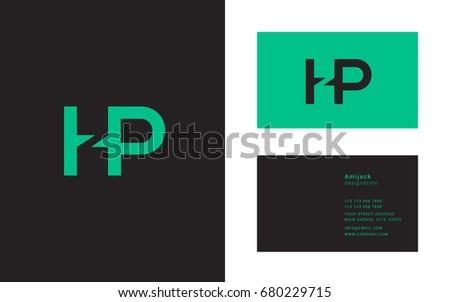 h p joint logo letter design stock vector royalty free 680229715