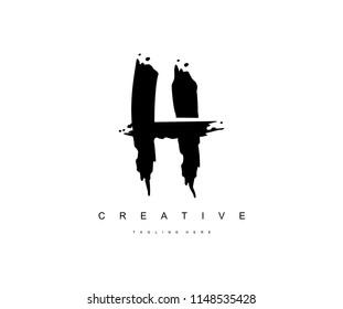 H Paint Stroke Grunge Letter Logotype