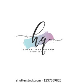 H Q HQ Initial letter handwriting and  signature logo.