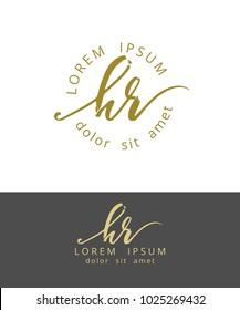 H R. Handdrawn Brush Monogram Calligraphy Logo Design