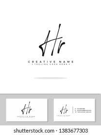 H R HR initial handwriting logo template vector.  signature logo concept
