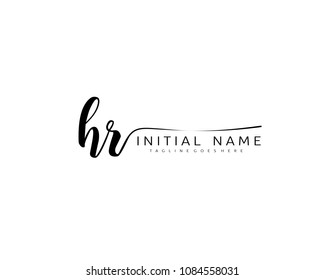 H R Initial handwriting logo vector. Hand lettering for designs.