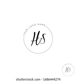 H S HS Initial letter handwriting and signature logo.