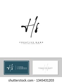 H S HS initial logo signature template vector. Handwriting logo concept