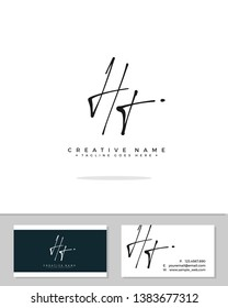 H T HT initial handwriting logo template vector.  signature logo concept