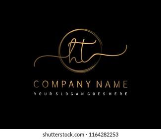 H T Initial handwriting logo vector