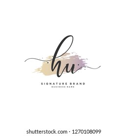 H U HU Initial letter handwriting and  signature logo.