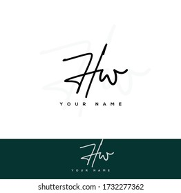 H W HW Initial letter handwriting and signature logo.