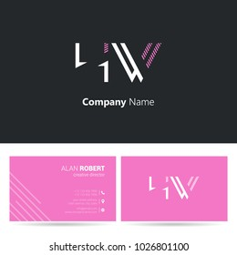 H & W joint logo line letter design with business card template