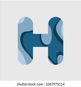 H Water Font Vector Template Design Illustration