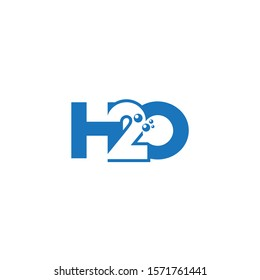H2o or H20 letter simple unique logo design .