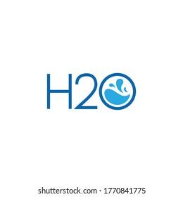 H2o or H20 letter simple unique logo design.