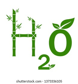 H2O icon. H2O green logo concept. Eco-friendly. on the White Background Vector illustration