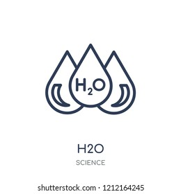 H2o icon. H2o linear symbol design from Science collection. Simple outline element vector illustration on white background.