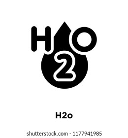 H2o icon vector isolated on white background, logo concept of H2o sign on transparent background, filled black symbol