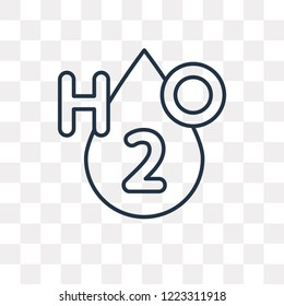H2o vector outline icon isolated on transparent background, high quality linear H2o transparency concept can be used web and mobile