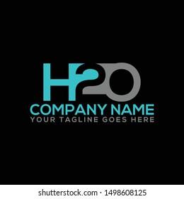 H2O & Water company logo design