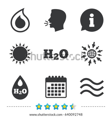 H 2 O Water Drop Icons Tear Oil Stock Vector Royalty Free