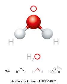 H2O. Water molecule model, chemical formula, ball-and-stick model, geometric structure and structural formula. Polar inorganic compound, tasteless and odorless liquid. Illustration over white. Vector.