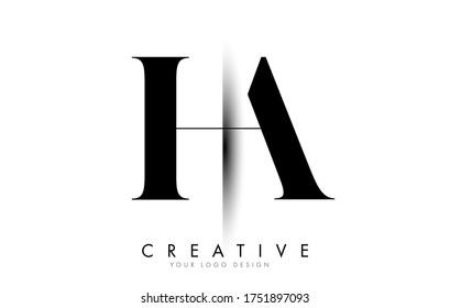 HA H A Letter Logo Design with Creative Shadow Cut Vector Illustration Design.