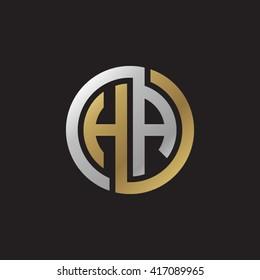 HA initial letters looping linked circle elegant logo golden silver black background