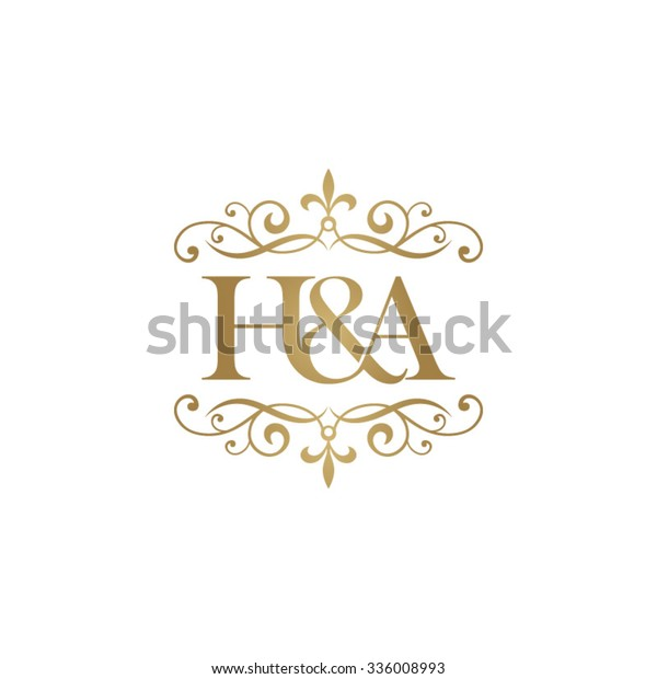 H&A Initial logo. Ornament ampersand monogram golden logo