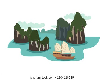 Ha long bay cartoon style. Vietnam landmark vector illustration. Asian travel attraction, isolated on white background. Famous rock island with  traditional Vietnamese ship