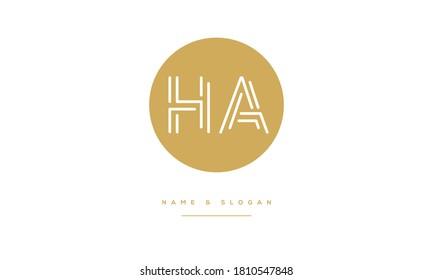 HA,AH,H ,A  Abstract Letters Logo Monogram