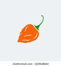 Habanero pepper logo clip art - flat color