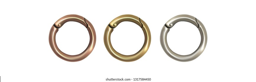 Haberdashery accessories. Round metal snap hooks for women bag. Vector image isolated on white background.