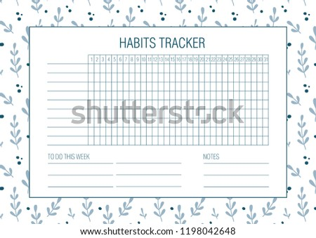 Habit Tracker Blank Hand Drawn Floral Stock Vector Royalty Free
