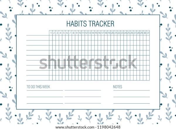 image relating to Bullet Journal Habit Tracker Printable identified as Behavior Tracker Blank Hand Drawn Floral Inventory Vector (Royalty