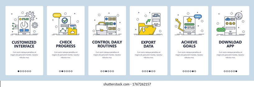 Habit tracking website and mobile app onboarding screens. Menu banner vector template for web site and application development. Check progress and control daily routine, track habits to achieve goals.