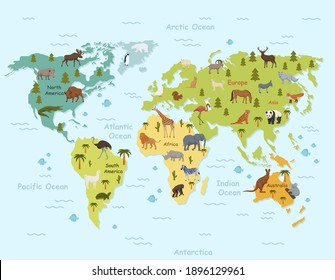 Habitat animals on world map clipart. Green topographic continents with ocean and tropical northern mammals vector birds.