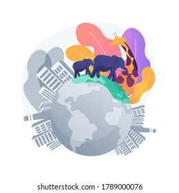 Habitat loss for wild animals abstract concept vector illustration. Wildlife loss, global habitat destruction, wild animals extinction threat, environment, endangered species abstract metaphor.