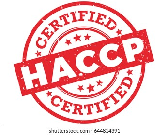HACCP Certified Rubber Stamp. Hazard Analysis Critical Control Points Red Grunge Badge Vector.