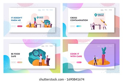 Haccp Hazard Analysis and Critical Control Point Landing Page Template Set. Tiny Characters with Microscope Lab Quality Control Management Rules for Food Industry. Cartoon People Vector Illustration