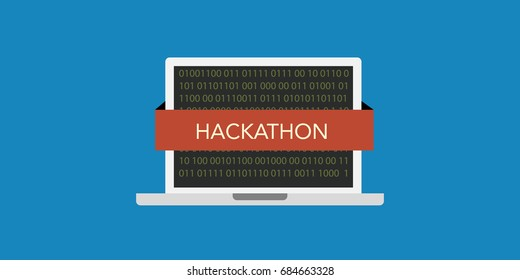 hackathon (also known as a hack day, hackfest or codefest) concept illustration