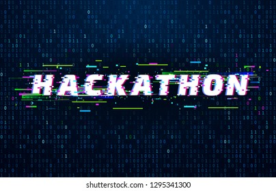 Hackathon background. Hack marathon coding event, glitch poster and saturated binary data code flux. Postmodern cyberpunk monitor, hackathon futuristic vector background illustration