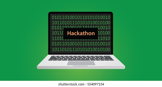 hackathon concept illustration with laptop and text on screen with binary code 0 and 1 programming