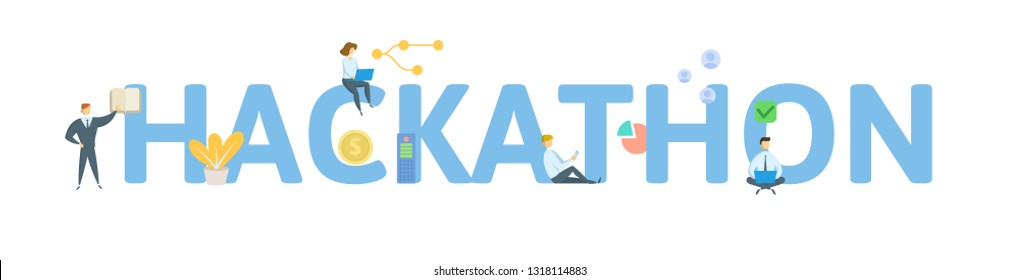 HACKATHON. Concept with people, letters and icons. Colored flat vector illustration. Isolated on white background.