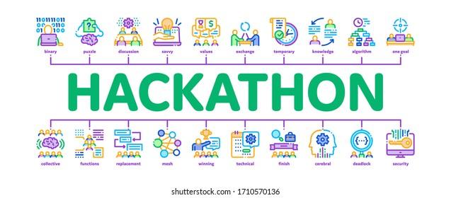 Hackathon Development Minimal Infographic Web Banner Vector. Hackathon Business, Developer Coding And Brainstorm, Meeting And Idea Illustrations