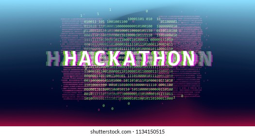 Hackathon event template: banner, cover, poster. Abstract background with glitched binary code in webpunk/ cyberpunk style.