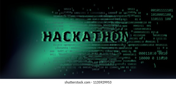 Hackathon event template. Broken glitched binary code on dark background. Synthwave, webpunk style illustration.