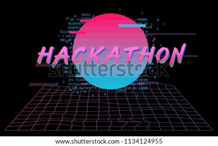 hackathon event template retrowave cyber landscape stock vector