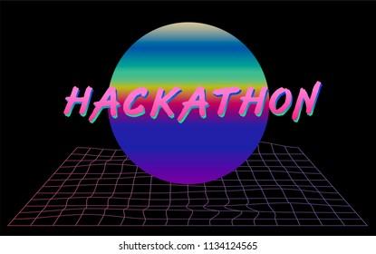 Hackathon flyer event template. Retrowave cyber landscape  with holographic sun and laser grid. Webpunk, vaporwave style.