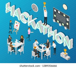 Hackathon Forum Concept Card 3d Isometric View Include of Programming, Development, Marketing, Coworking and Software. Vector illustration