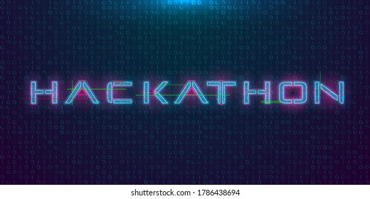 Hackathon HUD hologram cyberpunk style banner. Neon tech Hackathon glitch inscription on dark background. Design element for event advertising, shares, promotion. Vector